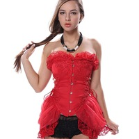 Gothic Embroidery Lace up boned Corset Skirt Vampire Fancy Dress Outfit Showgirl Corset Dress Clubwear Bustier