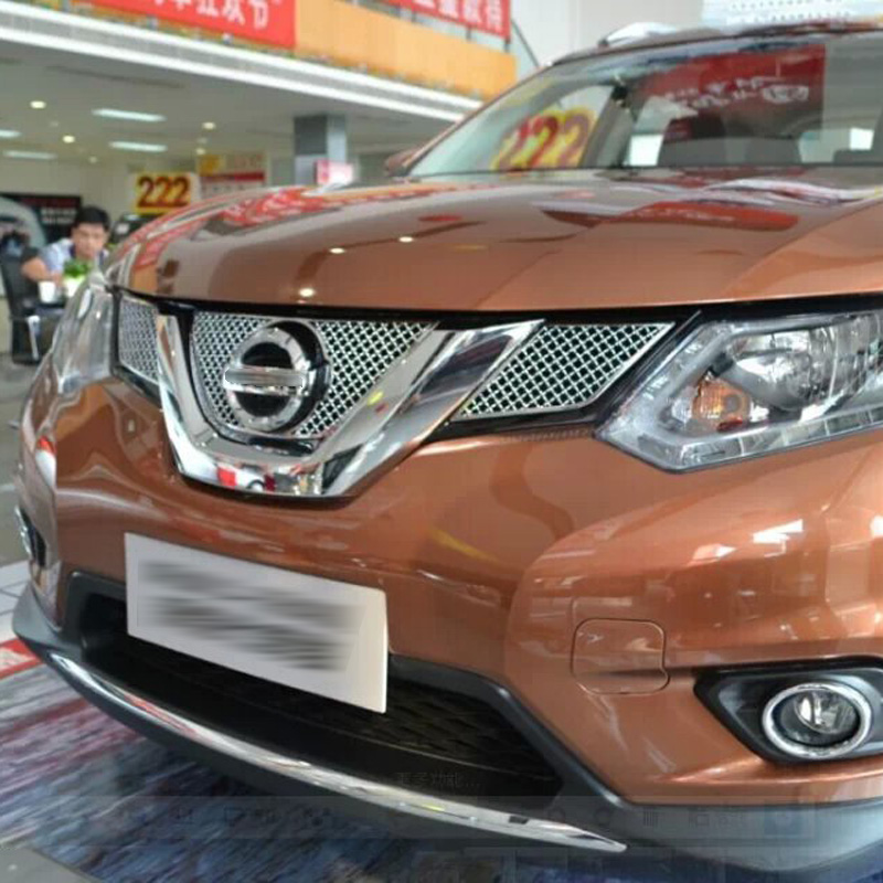 ФОТО For Nissan X-Trail Rogue 2014 2015 Stainless Steel Racing Grills Near Logo Garish Bezels Front Up Grilles Trims Accessories 3pcs