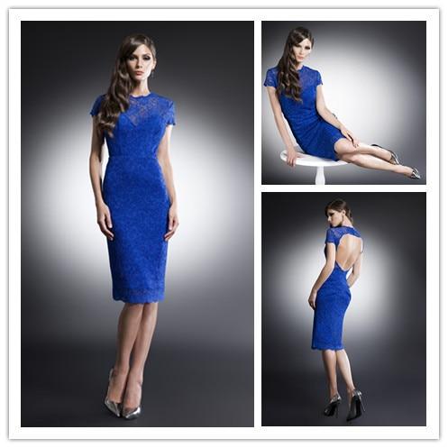 Wholesale Blue Short Sleeve Knee Length Cocktail Dresses