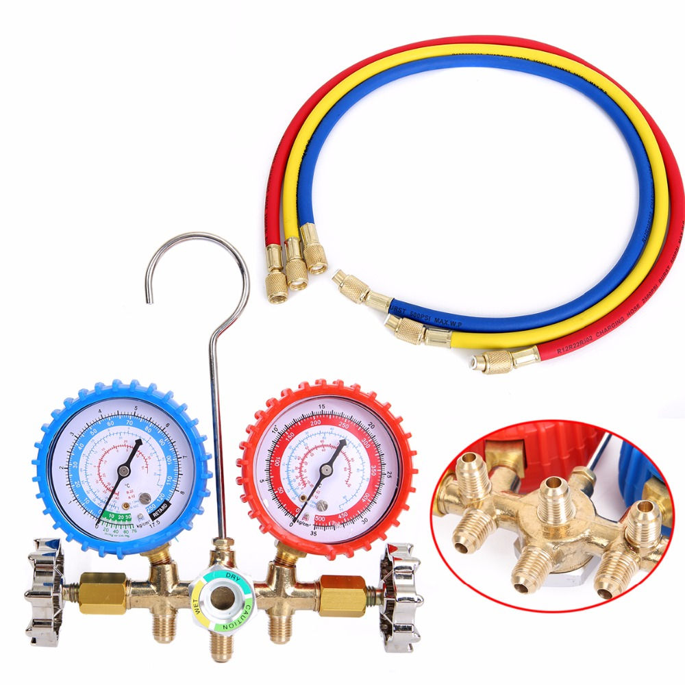 1Set Manifold Gauge Tool 0-10MPA Charging For R134A R12 R22 R404z Air Condition Refrigeration r22 r410 r407c r404a r134a air conditioner refrigeration single manifold vacuum gauge pressure gauge tool