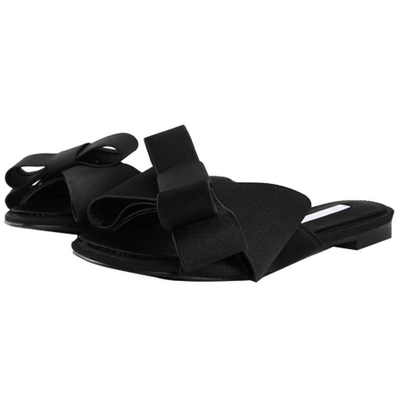 Round head thick with open toe sandals and slippers 2019 summer new women's shoes Wearing a bow with flat slippers