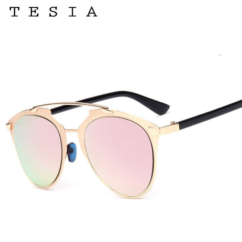 5640eaccb ... TESIA Retro Reflected Sunglasses Women Cat Eye Sun Glasses Female Rose  Gold Mirror Shades Real UV400 ...