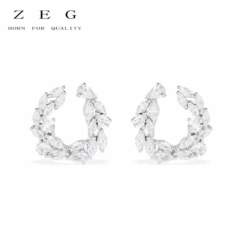 ZEG High Quality Original 1:1 Pear-Shaped U - Shaped Earrings With Manual Micro - Set Diamond Earrings Women Jewelry ...
