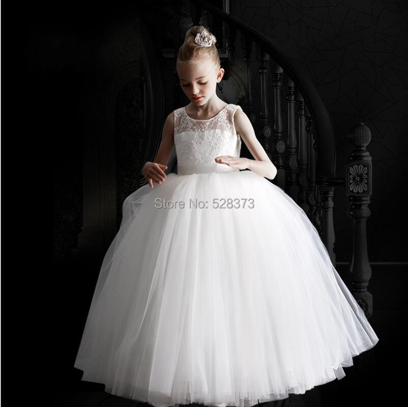 YNQNFS FG5 Ball Gown Puffy Tulle Skirt Kids   Dresses     Flower     Girl     Dresses   2018