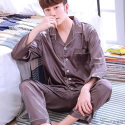 Черный Шелковый Мужская пижама сна однотонный атлас пижамы Для мужчин летний костюм длинный рукав Шелковая пижама Для мужчин пижамы