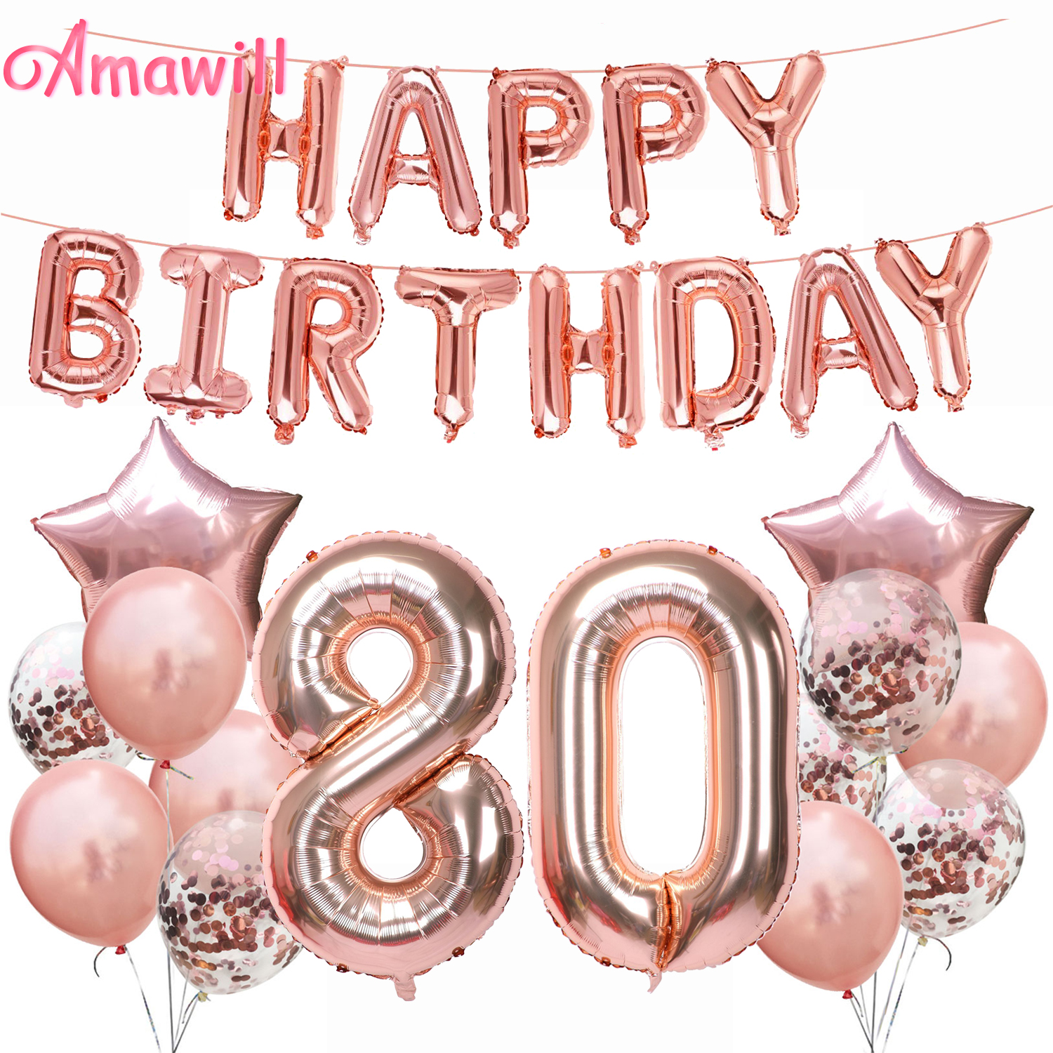 Amawill Prefect 80 Years Old Party Supplies Rose Gold Happy Birthday Foil Balloon 80th Birthday Party Decorations Adult 75D image