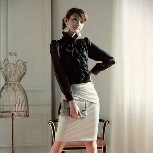 Летняя рубашка в стиле Лолиты Королевского дизайна с воротником-стойкой и рюшами Женская бело-черная рубашка с длинными рукавами Новая рабочая одежда AF488
