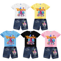 Wholesales 3 8Years Summer Settrolls Set Girls Tshirt Set Shirt Jeans Teenage Girls Clothing Sets Boutique