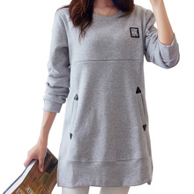 Купить с кэшбэком Maternity Tee Shirts Loose Nursing Clothes Tops for Pregnant Breastfeeding T-Shirt with Pockets Pregnancy Clothing B0319