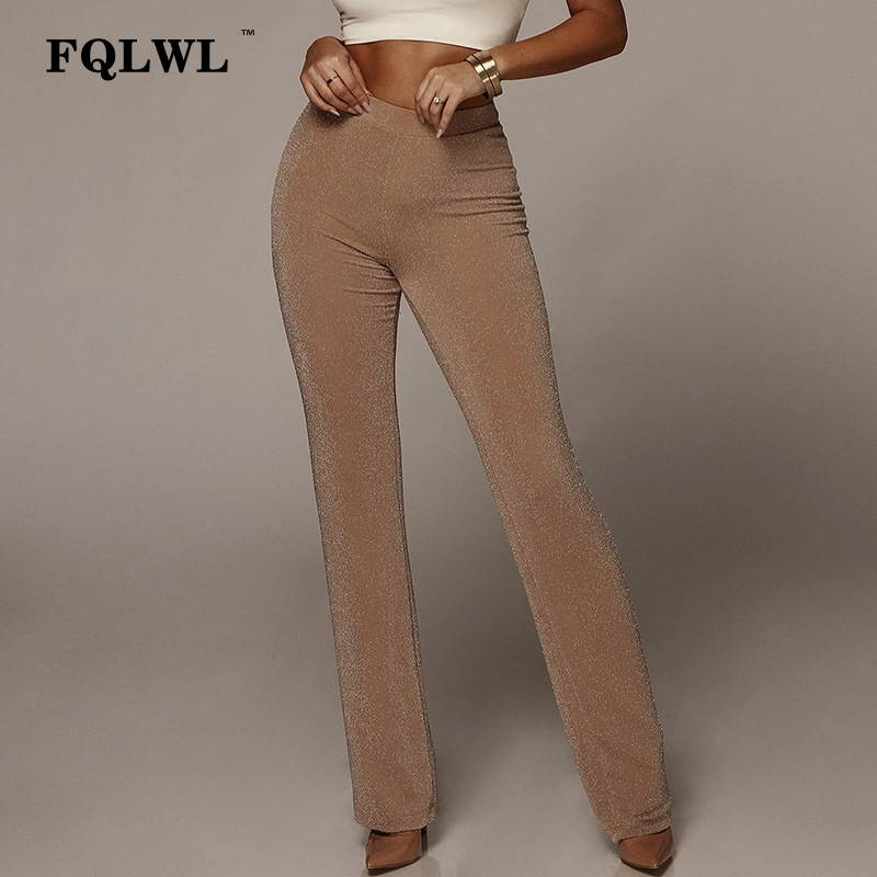 FQLWL Sexy Flare   Wide     Leg     Pants   Women Trousers Black Elastic High Waist Women   Pants   Casual Autumn Winter Skinny Female   Pants