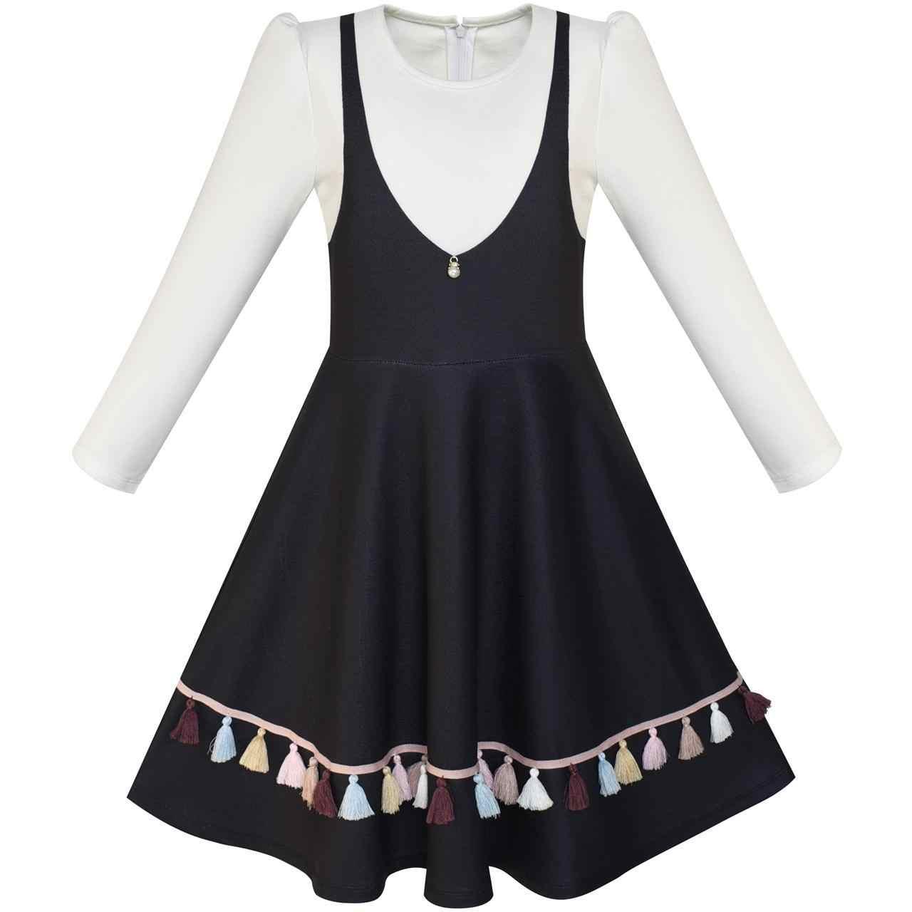 Sunny Fashion платья для девочек 2-в-1 Школьная форма Длинный рукав Черный кисточка