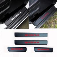 4PCS Carbon Fiber Vinyl Sticker Car Door Sill Scuff Plate For Suzuki Vitara S Cross Auto