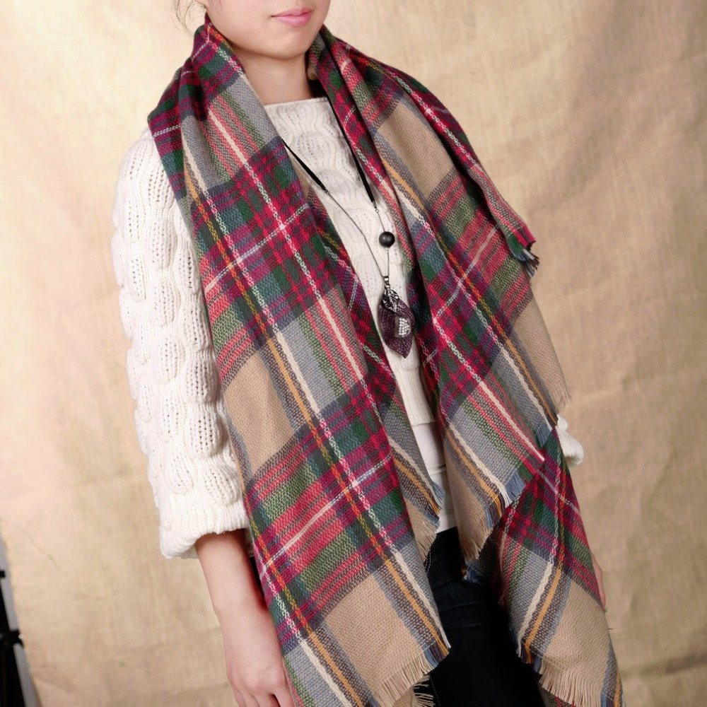 Vintage Women Oversized Blanket font b Tartan b font Scarf Trendy Elegant Wrap Shawl Plaid Cozy