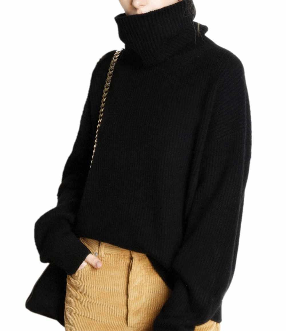 Schneider schafe winter rollkragen pullover frauen lose kopf dicker kurzen kaschmir pullover weibliche oversize-pullover