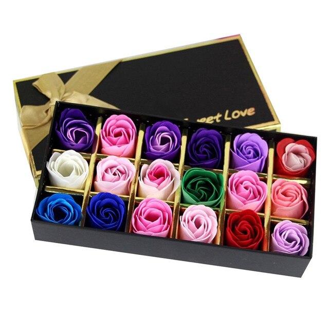 18 יח'\קופסא הסימולציה רוז פרח סבון עם סרט חתונה יצירתיים מזכרת אהבה רומנטית יום הולדת יפה מתנה