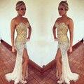 Abendkleider Crystal 2016 Vestidos de Fiesta Rhinestone Sirena Cariño Blanco Y Oro Raja del Lado de Noche Partido Vestido de Cristales Con Cuentas