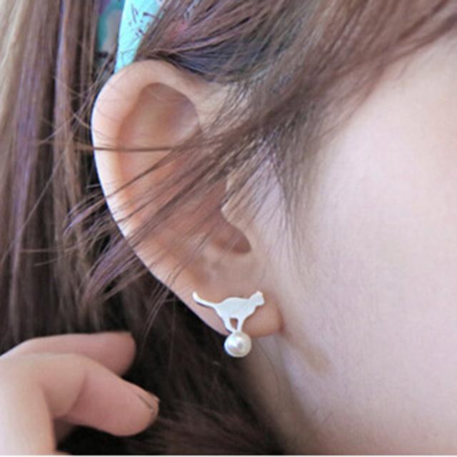 Elegant Cat Earrings 925 Sterling Silver