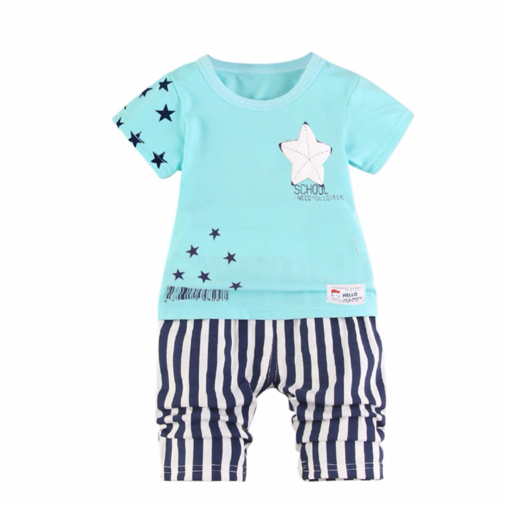 ETOSELL Toddler Boys Girls Clothes 2018 Summer Star Printed Kids Shorts Suits Casual Cotton Children Clothing Set