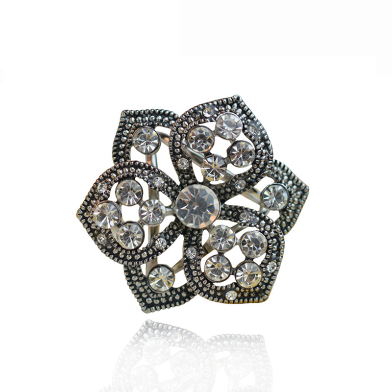 ⑦2016 vintage cristal flor joyería Broches Pasadores bohemio hijab ...