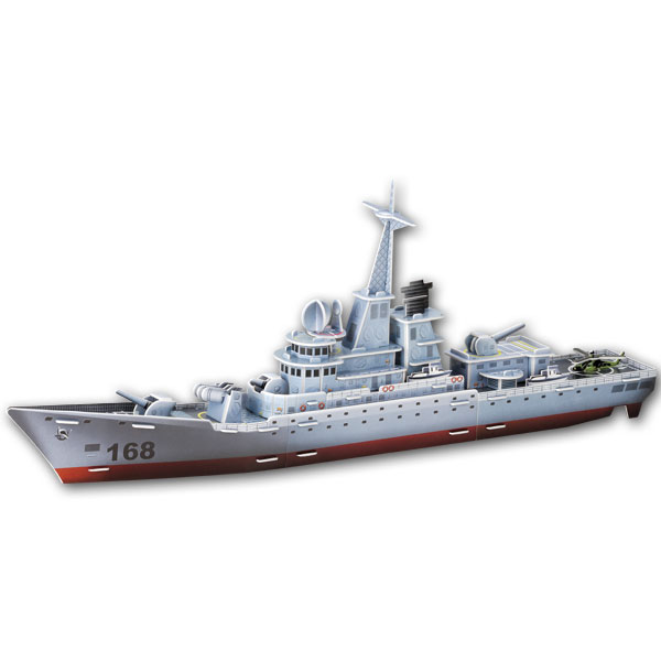 3D puzzle paper building model DIY toy hand work assemble game China ship boat 052B Guangzhou 168 missile destroyer kid gift 1pc 1 32 diy 3d supermarine spitfire ixc type fighter plane aircraft paper model assemble hand work puzzle game diy kid toy