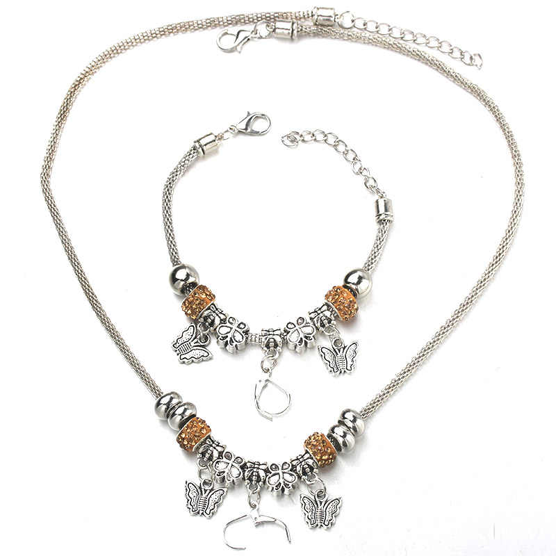 6 Colors Butterfly Necklace Bracelet Set Fine Silver Bead Hollow Chain Beaded Bracelet With Hook DIY Making Pendant Jewelry
