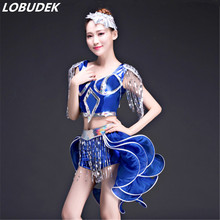 top shorts suits fashion sequins Swallowtail skirt set female team dance performance costume Festival party