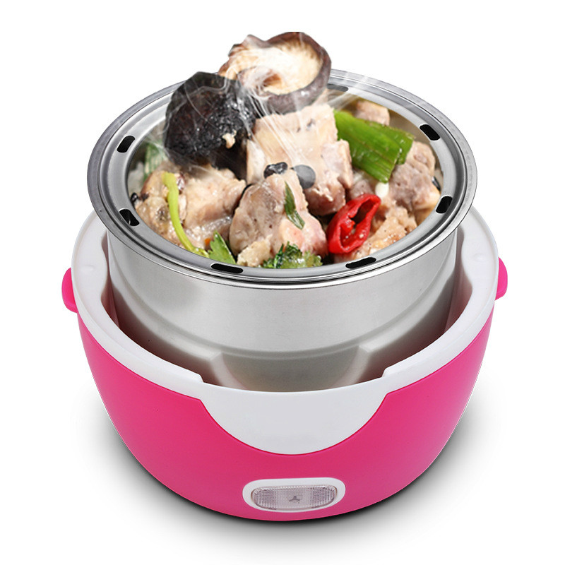1L Mini Rice Cooker Student Dormitory Noddles Hot Pot 2Double layers Insulation Steamers Electric Heating Cooking Lunch Box bear dfh s2516 electric box insulation heating lunch box cooking lunch boxes hot meal ceramic gall stainless steel