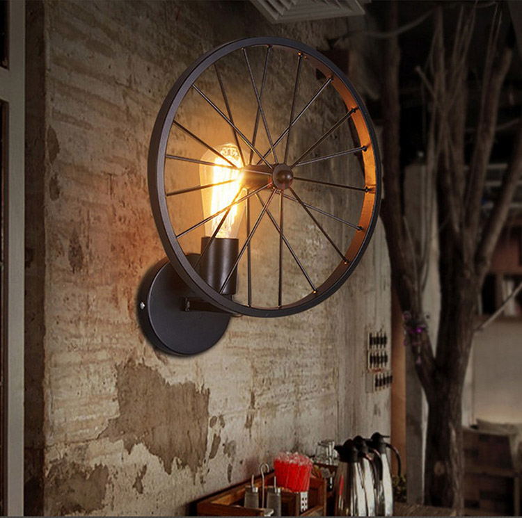 A1 Retro wall loft creative wall lamp personality Restaurant Bar American country iron industrial wind wheel wall lamp GY312 american country style retro industrial wind loft bar aisle edison flute wall lamp wall lamp simplicity creative