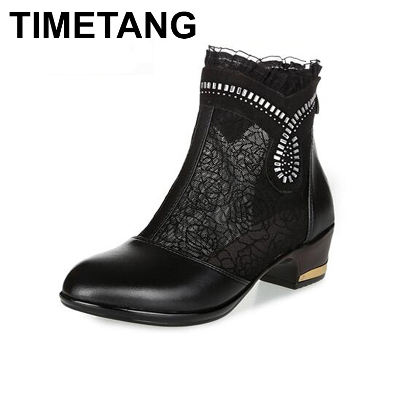 TIMETANG Thick Mid Heel Genuine Leather Lace Floral Cut Out Glitters Women Fashion Summer Sandals Ankle Boots Plus Size 35-43 yaerni thick mid heel nubuck leather lace floral bowknot pearl rivets summer women fashion sandals ankle boots plus size 32 42