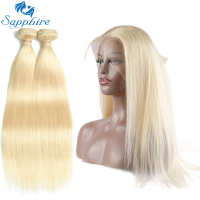 Sapphire Peruvian Straight Hair 2 Bundle With 360 Lace Frontal Blond Hair Bundle Straight Remy Peruvian