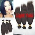 Mongolian virgem 7A cabelo humano Yaki do cabelo reto de trama grossa luz Yaki weave para africano americanos