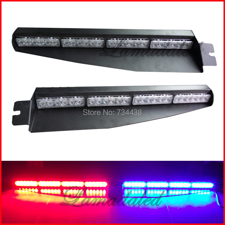 2pcs 24led Police car visor light led strobe lights auto dash board windshield lamp car warning light RED BLUE WHITE AMBER GREEN недорого