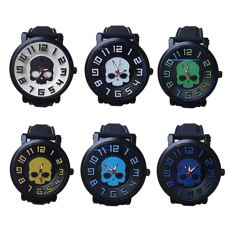 1pc 2017 New fashion brand Men student Skull casual watch wrist clocks hour skeleton Quartz Wristwatches