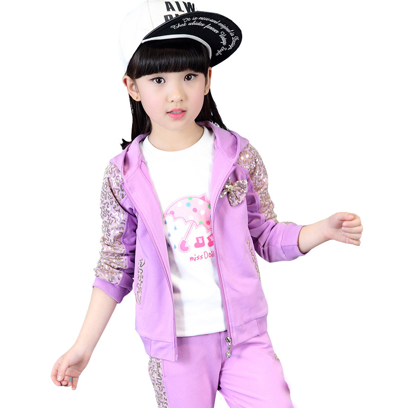 Children's clothes in the spring and autumn 2018 sequins long sleeve three-piece suit of the girls T-shirt + Fleece jacket +pant purnima sareen sundeep kumar and rakesh singh molecular and pathological characterization of slow rusting in wheat