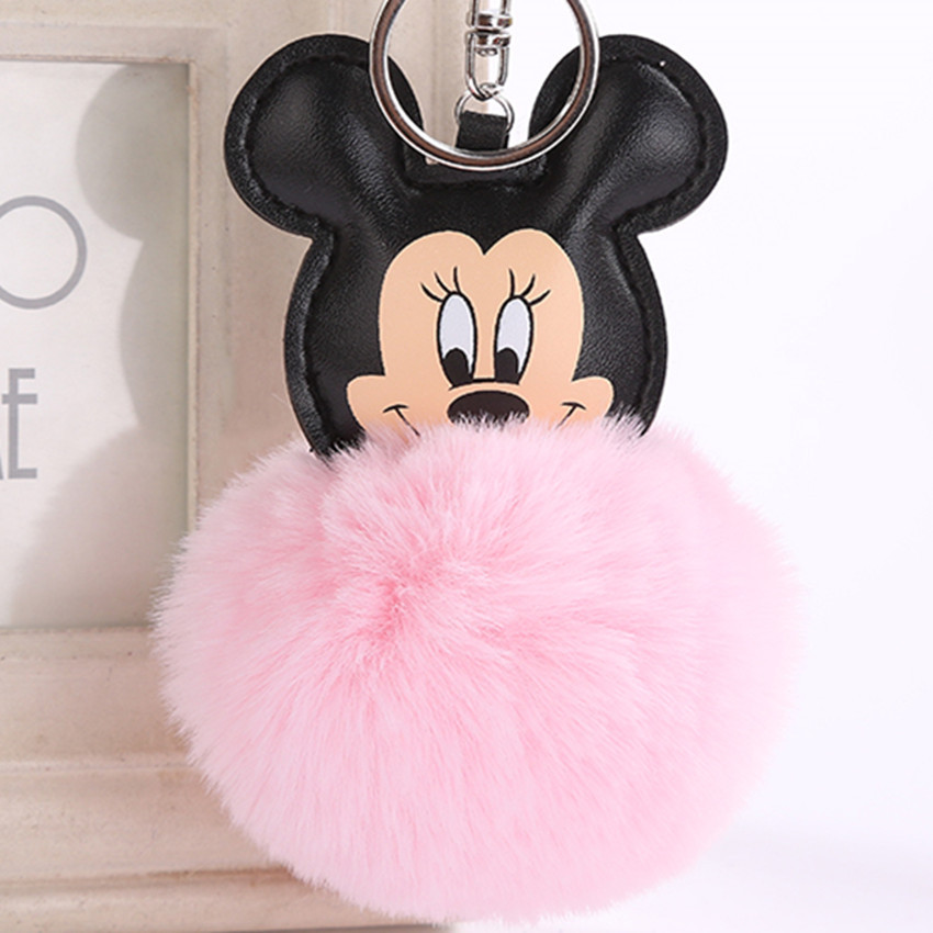 Fashion New Cute Fluffy Fur Mickey Mouse Keychain Faux Rabbit Fur Ball Pom Pom Key Chains Bag Charms Trinket Car Keyring Gift cute fox bobbles fur ball rhinestone keychain bag car ring keyring
