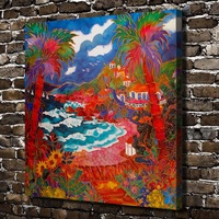 C_X200สีฟ้าน้ำที่มีสีสันต้นไม้ภูมิทัศน์,ผ้าใบHDพิมพ์ตกแต่งบ้านศิลปะภาพวาดห้องนั่ง
