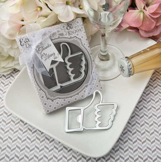 100pcs Wedding Favors and gifts Facebook smiley Like Bottle opener Guests gift box Bridal shower gifts For liking us-in Openers from Home & Garden    1