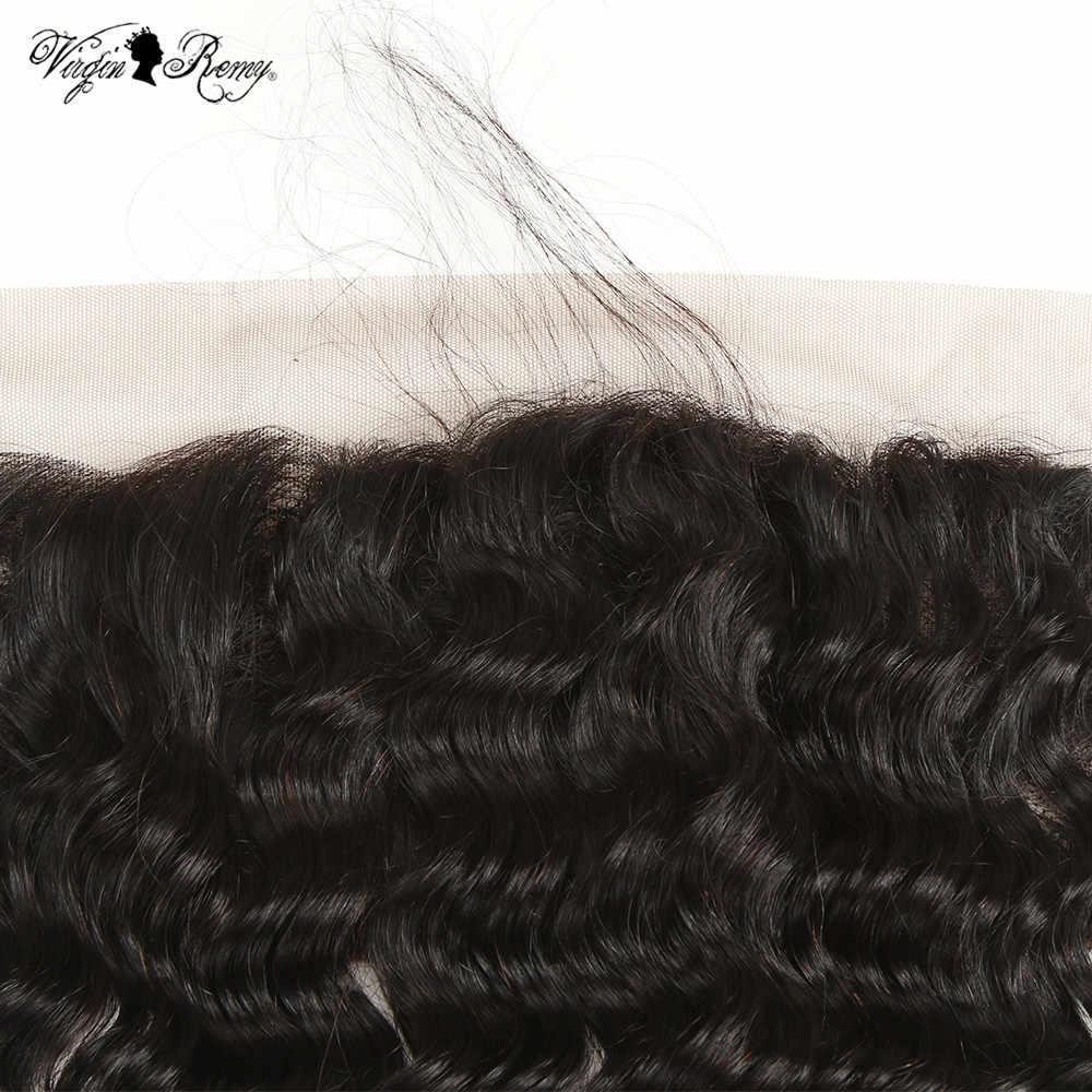 Королевские Виргинские индийский волос Remy Кружева Фронтальная Закрытие кудрявые 13*4 свободная часть человеческих волос Закрытие с волосами младенца естественного цвета