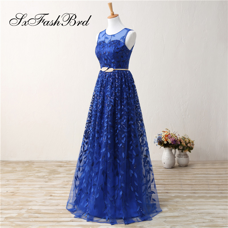 Vestidos Elegantes De Fiesta O Neck Open Back A Line Long Blue Lace Formal Elegant Women Evening   Dresses   Party   Prom     Dress