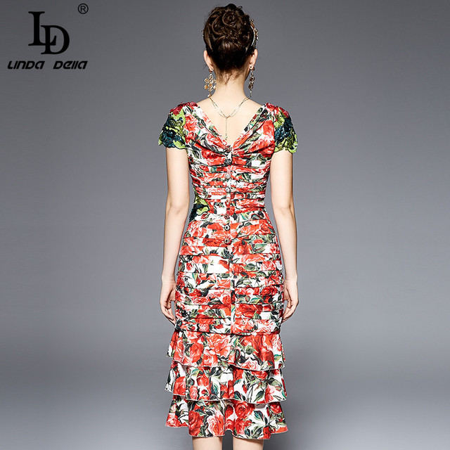 Summer Women Party Wear Sequins Sexy Red Tiered Rose Floral  Printed Sheath Bodycon Mermaid Dress