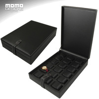 Attractive Leather Watch Box Packaging 18 Watches Store Display Case Carbon Fiber PU Watch Box Showcase