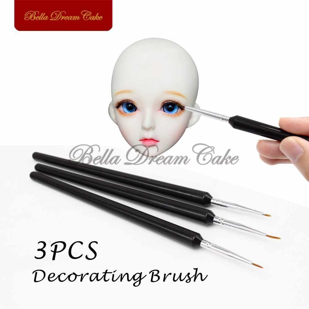 Face mold Cake Decorating Brush Set,3pcs//set Food Paint Icing Cupcake  BT