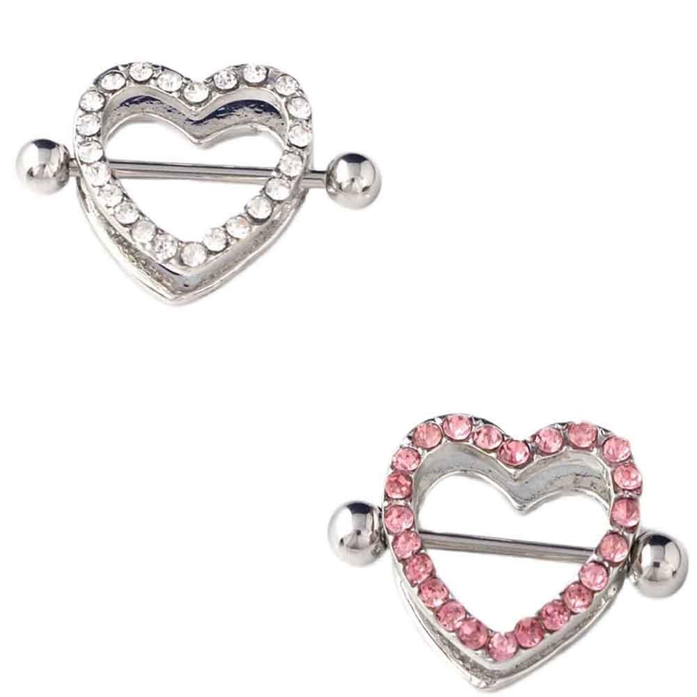 1Pc Nipple Ring Heart Gem Dangle Chain Nipple Shield Ring -3457