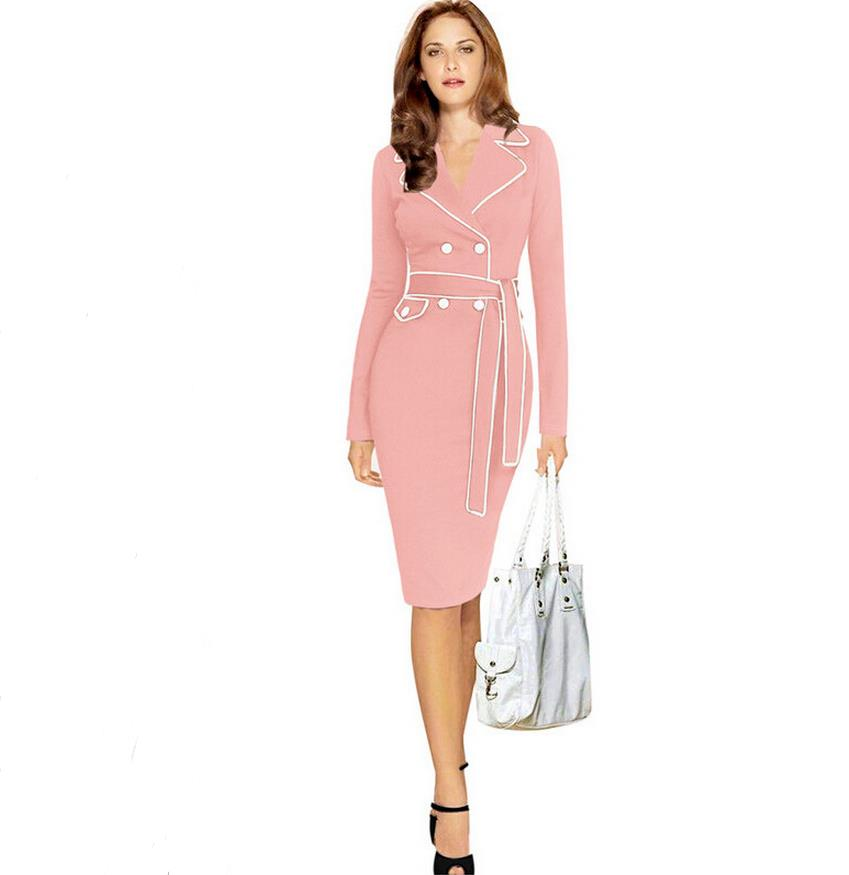 Womens Vintage Button Wear To Work Business Career Casual Tunic Sheath Pencil Bodycon Dress ...
