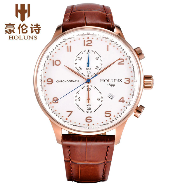 HOLUNS Original Watch Mens Top Brand Chronograph Men's Business Genuine Leather Dress Calendar Hour Clock Male Relogio Masculino