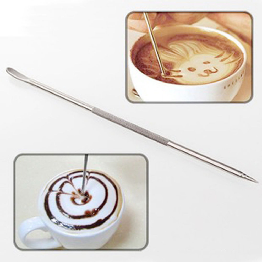 Top Quality Stainless Steel Barista Cappuccino Latte Espresso Coffee Decorating Pen Art Household Kitchen Cafe