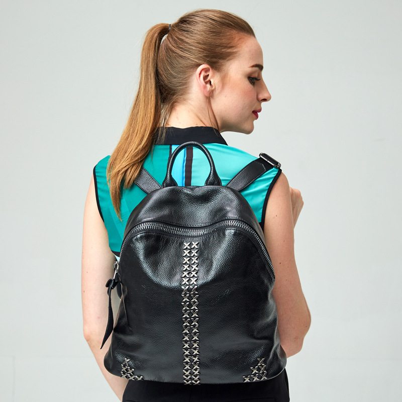 ФОТО Fashion Genuine Leather Backpack Women Bags Preppy Style Backpack Girls School Bags Zipper Shoulder Women's Back Pack