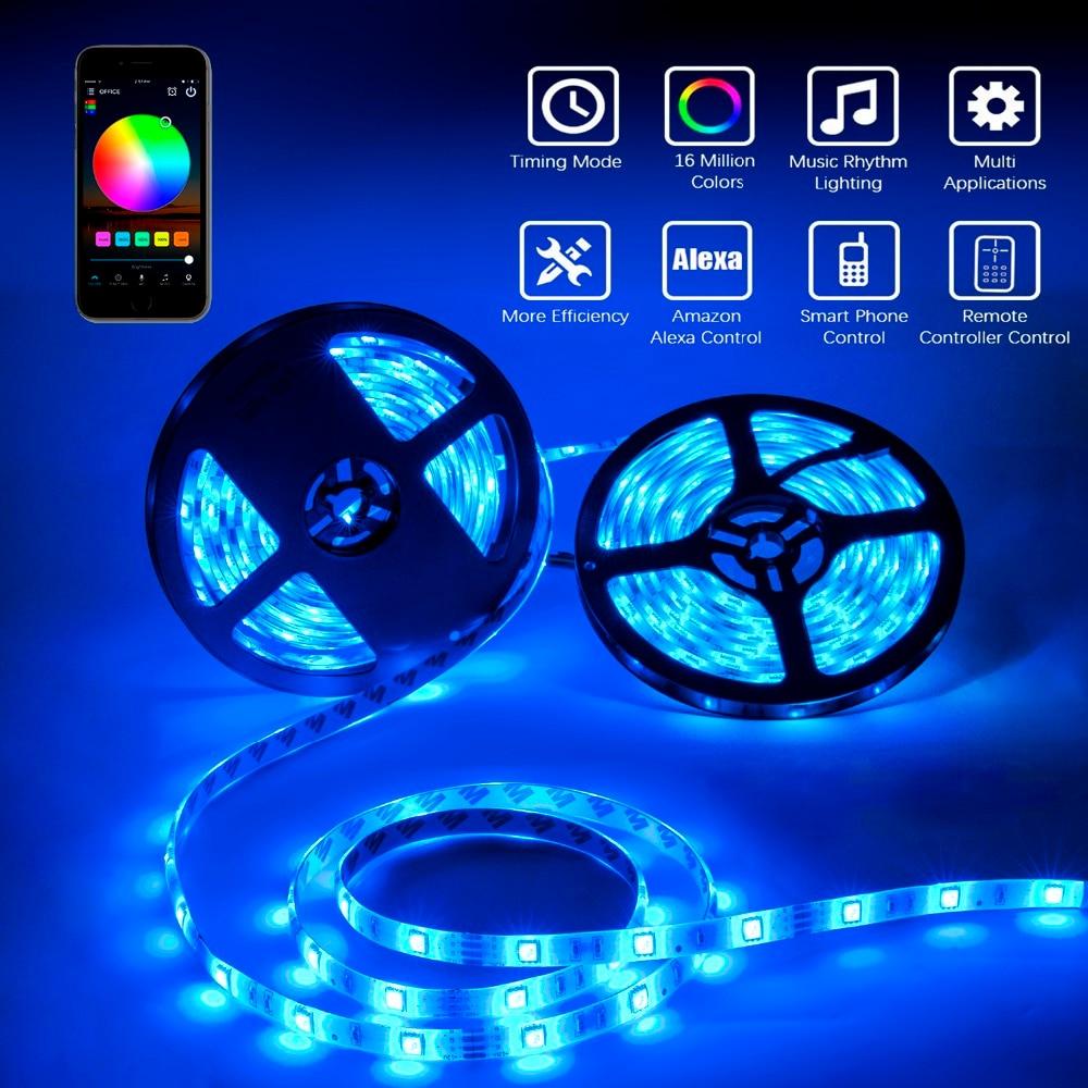 XGBTEL WiFi LED Bande 10 M 5050 DC 12 V 300 LED ruban à LED LED flexible imperméable diode LED Ruban contrôleur WiFi 5A Adaptateur