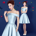 locely cheap short cocktail dresses 2017 light blue boat neck knee lenght satin coctail gown for formal prom party