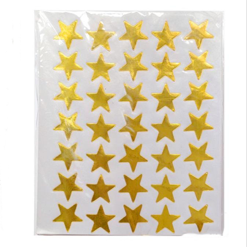 350pc/bag Child Gilding Reward Flash Sticker Teacher Praise Label Award Five-pointed Star Gold Sticker Self-adhesive Sticker